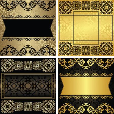 Verzameling van vector vintage luxe decoratieve frames. Twee kleurencombinaties