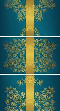 Set of templates for cards and invitations. Vintage gold floral decoration on blue background