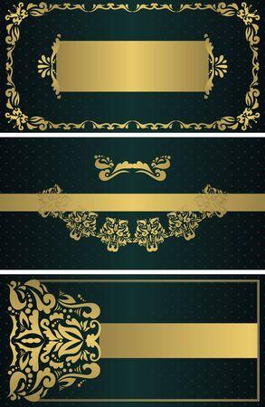 Set of three vector floral cards. Vintage floral gold frames