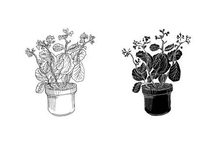 hand drawn flowers in positive and negative vector illustration