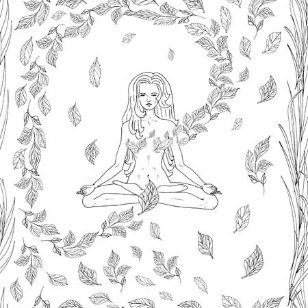 seamless pattern with lovely yoga girl and leaves in nature hand drawn vector illustration