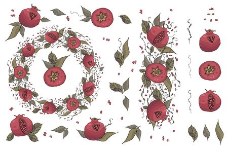 round with hand drawn pomegranates with leaves and seeds vector illustration