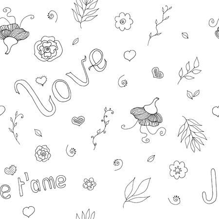 love white and black seamless pattern with hand drawn doodles for valentine Illustration