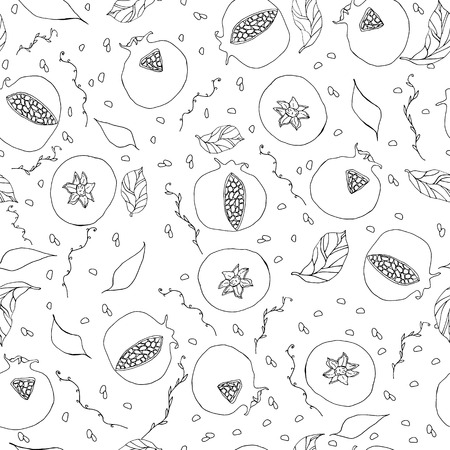 seamless pattern with white and black hand drawn pomegranates leaves and seeds doodles vector illustration Illustration