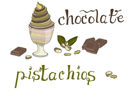 Hand drawn sweet chocolate and pistachios ice cream isolated vector illustration with lettering