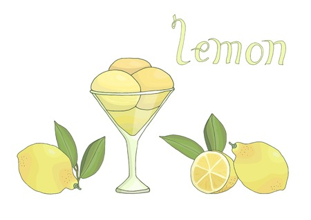 hand drawn tasty delicious lemon ice cream vector illustration with lemons and leaves
