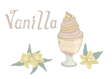 Hand drawn sweet vanilla ice cream isolated vector illustration with flowers and lettering