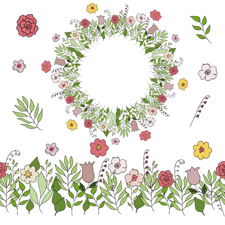 seamless brash with hand drawn flowers and leaves vector Illustration