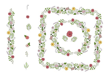 beautiful brush with flowers and leaves with isolated elements vector illustration