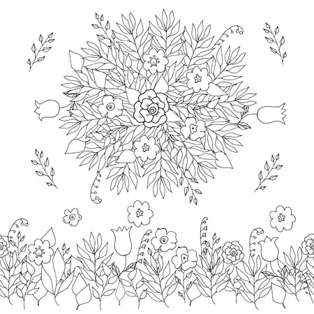 Hand drawn lined flowers and leaves seamless brush and round for colored book