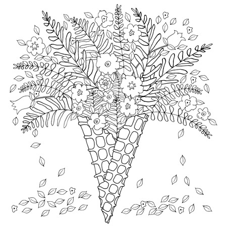 Hand drawn lined flowers and leaves in waffle cone for colored book Illustration