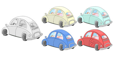 Car for coloring with colored examples red yellow green blue vector illustration Ilustração