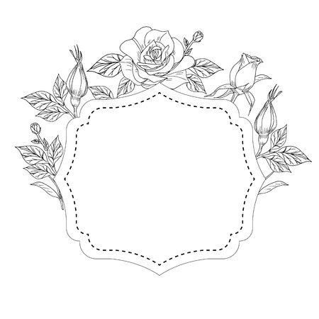 Decor for card with roses leaves and buds in frame vector illustration Illustration