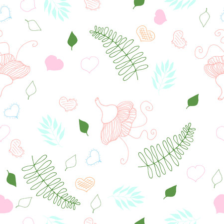 seamless floral pattern with hearts vector illustration