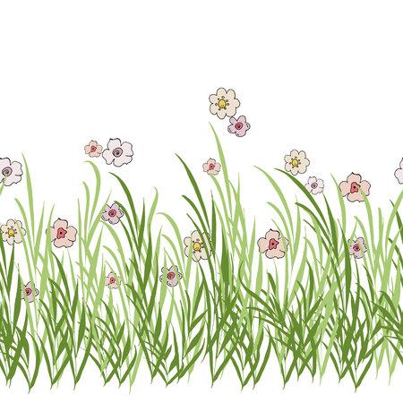 seamless horizontal floral brush vector illustration