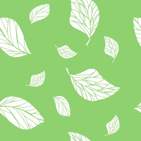 seamless floral pattern with leaves green background vector illustration