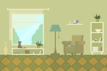 living room with armchair shelves window books lamp and cat flat vector illustration Illustration