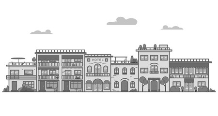 Beautiful Greece style city with picturesque buildings lines vector illustration Illustration