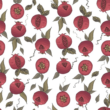 seamless pattern with tasty ripe pomegranates and green leaves vector illustration