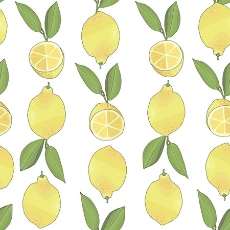 seamless pattern with tasty ripe lemons and green leaves vector illustration