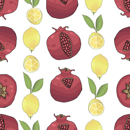 seamless pattern with tasty ripe lemons pomegranates and green leaves vector illustration