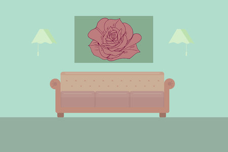 living room with sofa and picture flat vector illustration