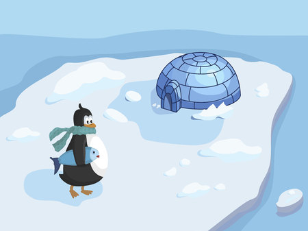 Penguin with fish on the island with house vector illustration