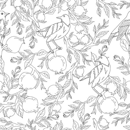 Seamless pattern with hand drawn pomegranates on branches with leaves and nightingales vector illustration Illustration