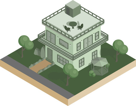 Isometric house with bushes and trees, table and chairs on the roof vector illustration Illustration