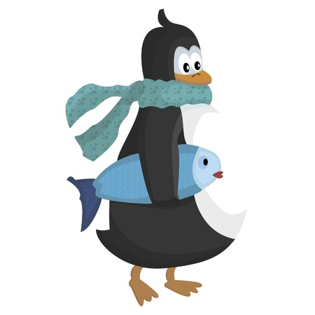 penguin with scarf and fish vector illustration