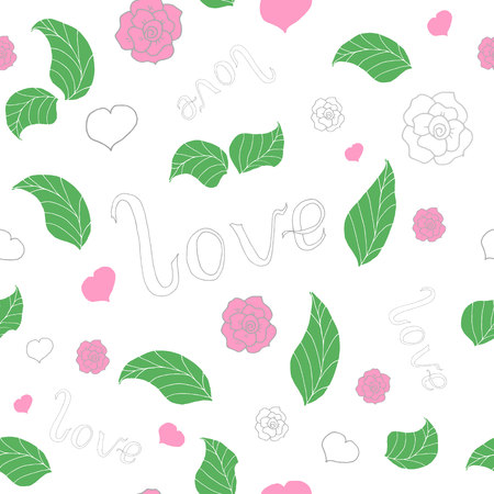 love seamless pattern with hand drawn doodles for valentine vector