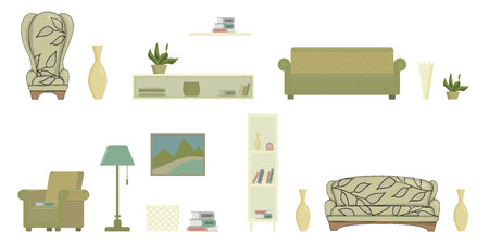 living room isolated objects with sofa armchair shelves picture books flat vector illustration Illustration
