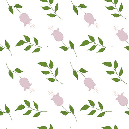 Seamless pattern with doodles flowers and leaves green pink sand colors vector illustration