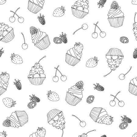 seamless pattern with hand drawn tasty cupcakes and berries vector illustration Illustration