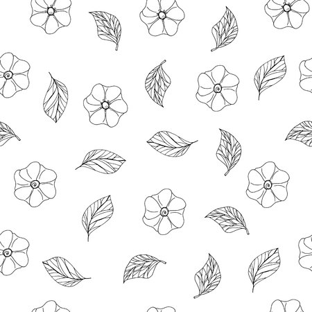 floral seamless pattern with hand drawn elements white and black vector illustration Illustration