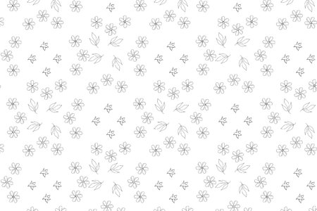 floral seamless geometric pattern with hand drawn elements white and black vector illustration