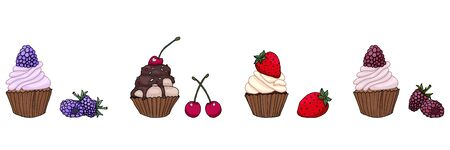 Set of tasty delicious cupcakes with berries vector illustration
