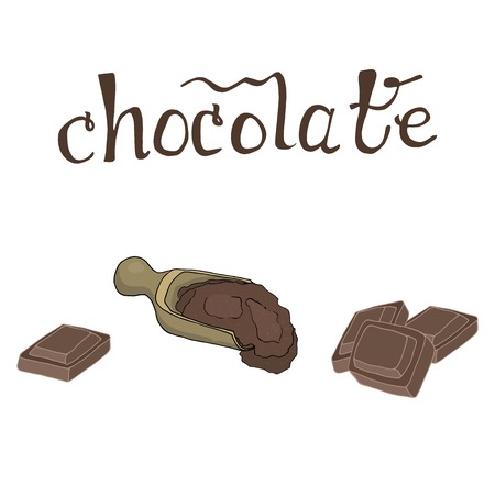 Chocolate cacao hand drawn vector illustration with lettering