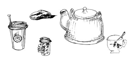Hand drawn coffee and tea composition with kettle coffee beans cup of tea monochrome sketch vector illustration