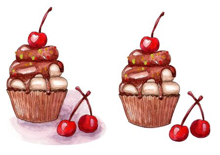 Tasty delicious cupcakes with cherry with and without shadow watercolor illustration