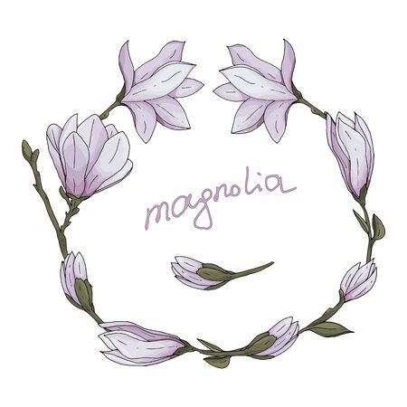 Hand drawn magnolia flower with branches and leaves and lettering vector illustration