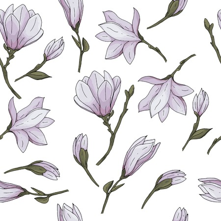 Seamless pattern with hand drawn magnolia flower with branches and leaves vector illustration