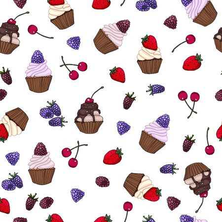 Seamless pattern with tasty delicious cupcakes with berries hand drawn vector illustration