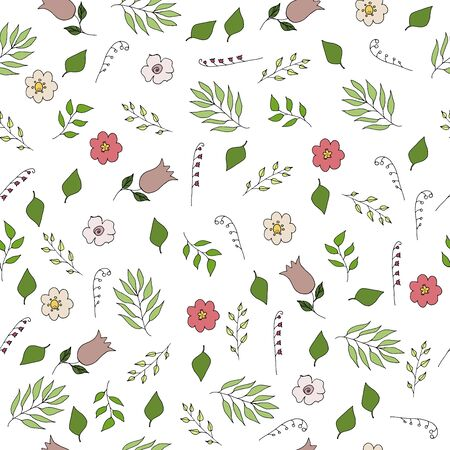 floral seamless pattern vector illustration with hand drawn flowers and leaves