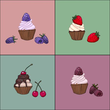 Set of tasty delicious cupcakes with berries in modern design illustration