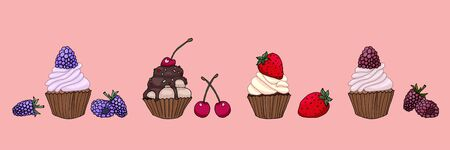Decor with tasty delicious cupcakes with berries in modern design illustration