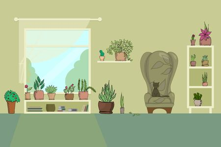 living room with armchair shelves window books houseplants flowers in pot and cat flat vector illustration