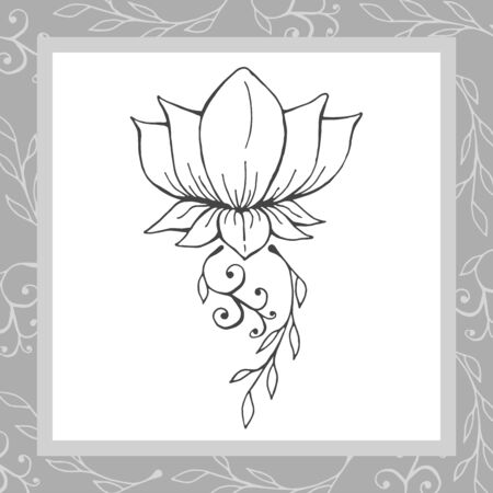 Decorative card picture of lotus in frame vector illustration
