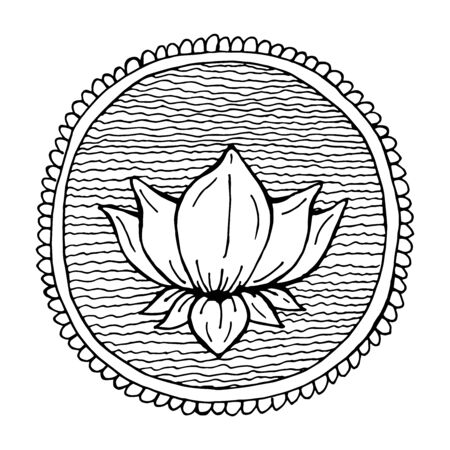 Decorative picture of lotus in water vector illustration for tattoo mehendi