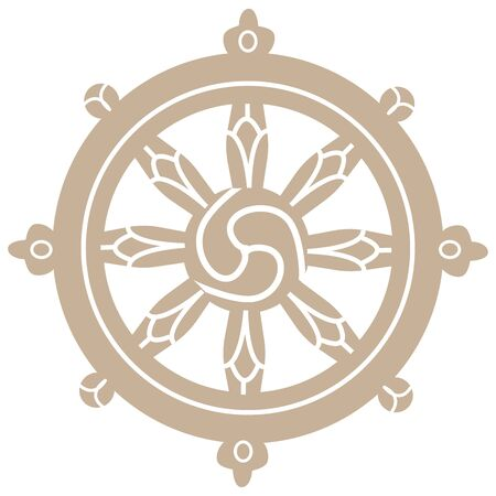 Wheel the symbol of buddhism vector illustration